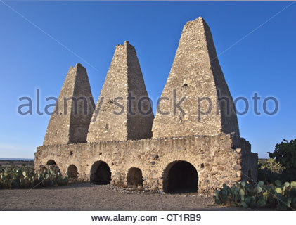 16TH CENTURY SMELTERS or hornos at the MINA SANTA BRIGIDA MINE which was used for mining silver - MINERAL DE POZOS, - Stock Image