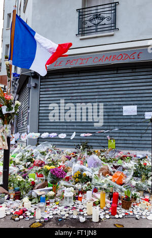 Tribute to victims of terrorism in Paris France - Stock Image