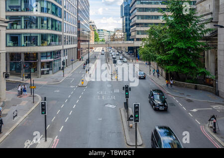 A view of Lower Thames Street in London, UK - Stock Image