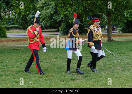 London, England - June 8, 2019: Her Royal Highness The Princess Royal, Colonel of The Blues and Royals  walking in the Hyde Park Together with Officer - Stock Image