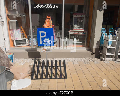 Bicycle parking traffic sign outside a shop in the Turkish part of Nicosia Cyprus - Stock Image