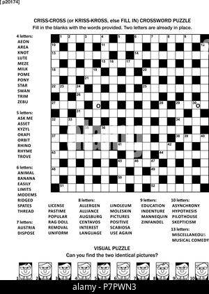 Puzzle page with two games: 19x19 fill-in (or criss-cross, else kriss-kross) crossword puzzle and visual puzzle. Black and white, A4 or letter sized. Answers are on separate file. - Stock Image