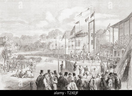 The annual Manchester Athletic Festival held on the Manchester Racecourse, 1865.  From The Illustrated London News, published 1865. - Stock Image