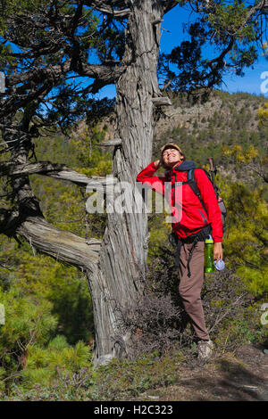 Beautiful Woman Traveler Backpacker Mountains.Young Girl Posing Smiling Take Rest North Summer Landscape Background. - Stock Image