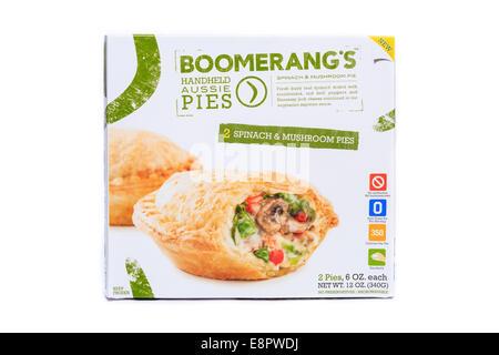 Boomerang's Frozen Prepared Spinach & Mushroom Handheld Aussie Pies - Stock Image