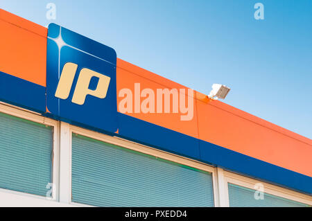 CARRARA. ITALY - OCTOBER 21, 2018 - Ip company logo on a gas station - Stock Image