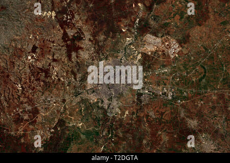 Aleppo in Syria in February 2019 seen from space - contains modified Copernicus Sentinel Data (2019) - Stock Image