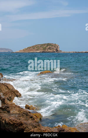 north eastern coast of Ibiza Island, Balearic Islands, Mediterranean Sea, Spain, Europe - Stock Image