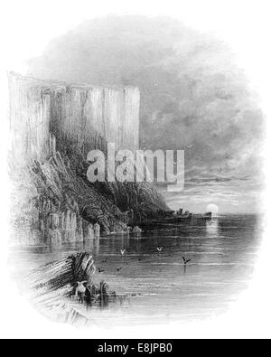 Fair head an Bhinn Mhór approaching the Giants Causway Northern Ireland, in County Antrim circa 1840 - Stock Image