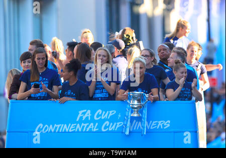 Manchester City's Steph Houghton (second right) during the trophy parade in Manchester. - Stock Image