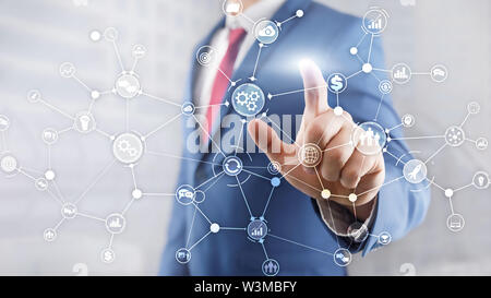 Business process structure industrial workflow diagram automation innovation concept on virtual screen mixed media - Stock Image