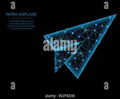 Paper airplane low poly model, flight up in polygonal style, wireframe vector illustration made from points and lines on a black background - Stock Image