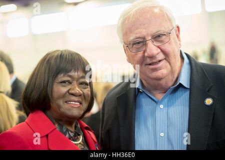 New York, USA. 15th Jan, 2017. L-R, Dorothy Gosby (Democrat - Councilmember Town of Hempstead) and John Brooks (Dem. - Stock Image