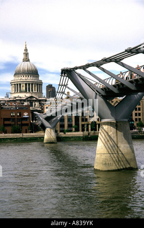 Millennium footbridge and St Pauls Cathedral London - Stock Image