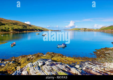 A sunny view of Killary Harbour on the west coast of Ireland. - Stock Image