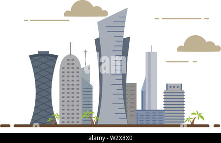 Qatar Doha city buildings travel country architecture middle east illustration - Stock Image