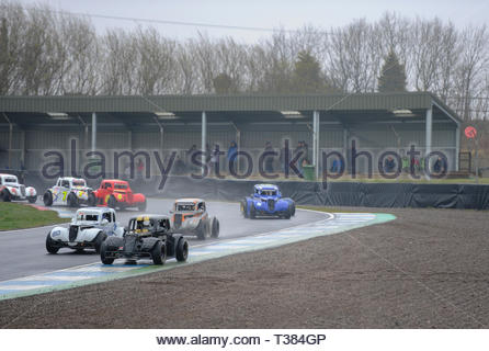 Dunfermline, Scotland, UK. 7th April, 2019.  At McIntyre's Corner  during a Scottish Legends Championship race at Knockhill Circuit. During a wet and misty opening round of the Scottish Championship Car Racing season organised by the SMRC (Scottish Motor Racing Club) at Knockhill. Credit: Roger Gaisford/Alamy Live News - Stock Image