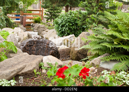 The cool and inviting water garden at Koi Gardens, Spokane, Washington State, USA. - Stock Image