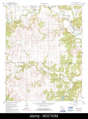USGS TOPO Map Kansas KS Oak Valley 512141 1962 24000 Restoration - Stock Image