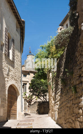Rue Saint Theodorit in Uzes. This street is as they say the most beautiful street of Uzes, France, - Stock Image