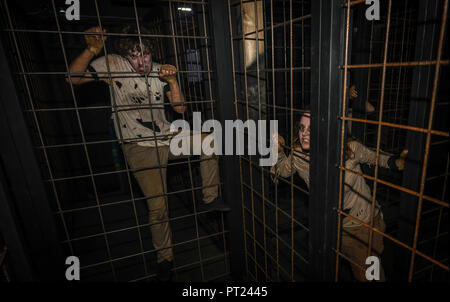 Crawley, UK. 5th October 2018. Stars of reality TV and VIP thrill seekers are out for the Press Night at Tulleys Shocktober Fest, Europe's biggest scare park in Crawley. All manner of ghouls, monsters and freaks scare visitors in the mazes and roam the park during the night. Credit: Thomas Faull/Alamy Live News - Stock Image