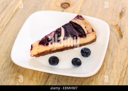 blueberry swirl cheesecake - Stock Image