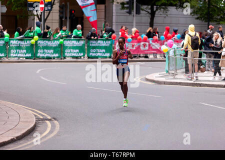 Birhana Dibaba (ETH), competing in the Women's Elite 2019 London Marathon. Birhana finished  9th Woman, in a time of 02:25:04 (8th in the women's 18-39 category). - Stock Image