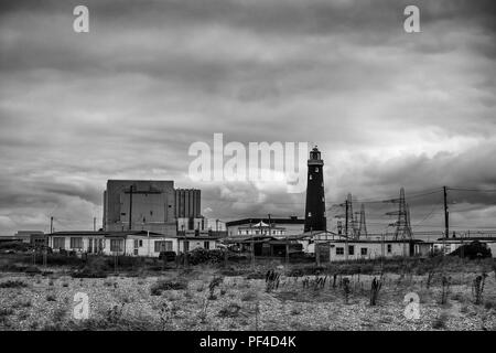 Dungeness,Nulear,Power,Station,Old Lighthouse,Dungeness,Kent,UK - Stock Image