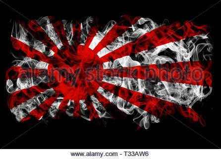 Smoking flag of Japan - rising sun - Stock Image