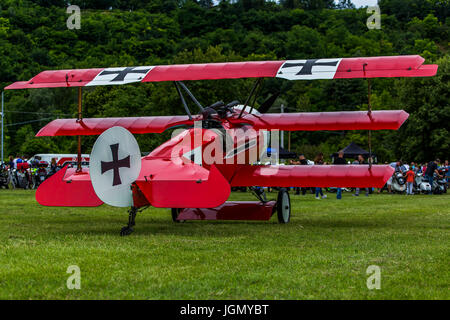 German, red triplane Fokker Dr-1 M replica on a meadow. - Stock Image