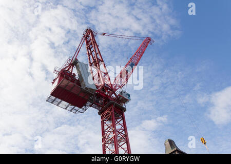 Temporary luffing crane erected in Bolton town centre to aid construction work on the new 9 screen cinema in the - Stock Image