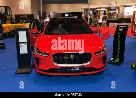 Front view of  a Jaguar I-Pace  a battery-electric SUV, on display at the 2018 London Motor Show - Stock Image