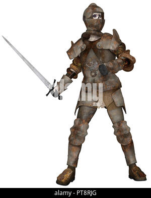 Undead Zombie Knight in Attacking Pose - Stock Image