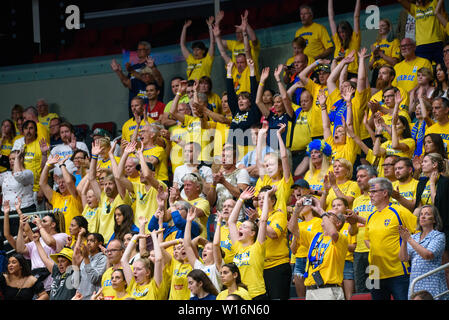RIGA, LATVIA. 30th of June, 2019. Swedish basketball fans, during European Women Basketball Championship, commonly called EuroBasket Women 2019 , game between team Sweden and team France in Arena Riga, Riga, Latvia. Credit: Gints Ivuskans/Alamy Live News - Stock Image