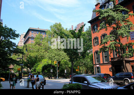 NEW YORK, NY - JUNE 22: Corner of Irving Place and Gramercy Park South, Gramercy Park Historic District, Manhattan on JUNE 22nd, 2017 in New York, USA - Stock Image