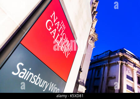 The National Gallery London, The National Gallery sign, The National Gallery Sainsbury Wing, The National Gallery London UK England, National Gallery - Stock Image