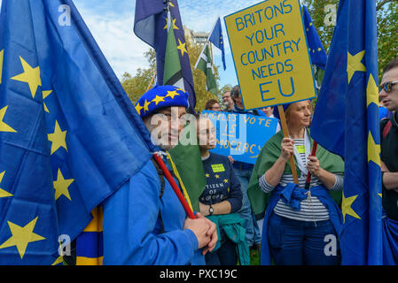 London, UK. 20th October 2018.  A group with placard 'Britons Your Country Needs EU' People gather with placards, banners and flags at Hyde Park Corner for the People's Vote March calling for a vote to give the final say on the Brexit deal or failure to get a deal. They say the new evidence which has come out since the referendum makes it essential to get a new mandate from the people to leave the EU. Peter Marshall/Alamy Live News - Stock Image