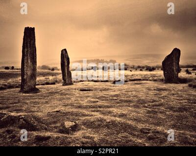 Machrie Moor Stone Circles, Arran - with vintage effect. - Stock Image