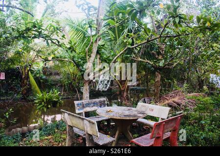 Worn out outdoor table and chairs in a tropical overgrown setting - Stock Image