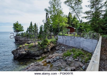 Cabin with sweeping views of Lake Superior in Lutsen,  Minnesota, USA - Stock Image