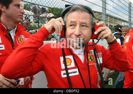 French Jean Todt, CEO of Scuderia Ferrari, gestures prior to the start of the Grand Prix of Belgium at the race - Stock Image