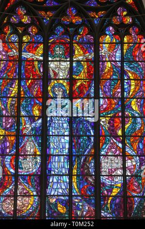 Stained glass window at St Marys Church in Gdansk - Stock Image