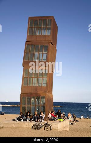 Spain Barcelona Sculpture by Rebecca Horn at Barceloneta beach - Stock Image