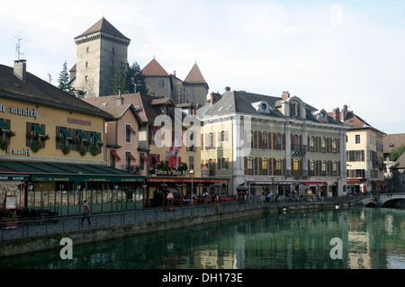 View of Annecy and Chateau d'Annecy - Stock Image