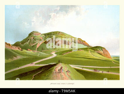 Vintage print of Arthur's Seat from St Leonards circa 1880.  Arthur's Seat is the main peak of the group of hills which form most of Holyrood Park, a wild piece of highland landscape in the centre of the city of Edinburgh, about a mile to the east of Edinburgh Castle. - Stock Image