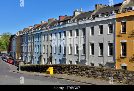 Bristol Georgian town houses in row of terraced properties, Cornwallis Crescent, in Clifton on hill above Hotwells - Stock Image