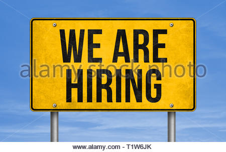 We are hiring - road sign message - Stock Image