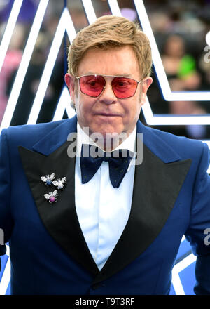 Elton John attending the Rocketman UK Premiere, at the Odeon Luxe, Leicester Square, London. - Stock Image