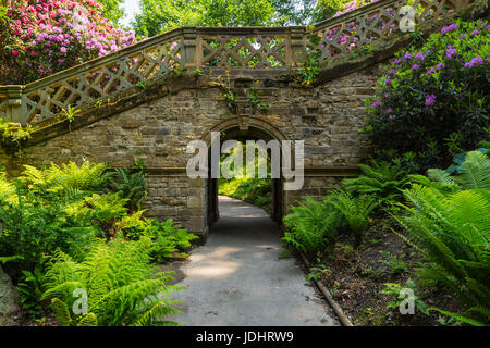 Archway and stairway in Hever Gardens, Hever Castle & Gardens, Hever, Edenbridge, Kent, England, United Kingdom - Stock Image