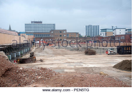Southampton UK Demolishing and redevelopment of Bargate Shopping centre. After years of building retail developments and malls, many are being pulled  - Stock Image